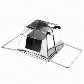【戶外便攜折疊柴火爐-不鏽鋼-19*19*15cm-1套/組】野營炊具爐具灶具 野餐用品支架組合型爐子可折疊便攜式超穩超輕-76007