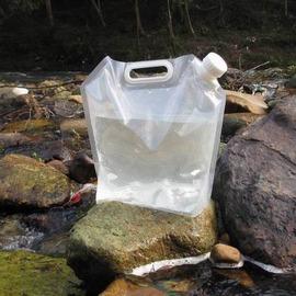 【PE儲水袋-10L-寬41*高38cm-2個/組】野炊必備大容量瓶身可自立可折疊可卷可壓平儲水袋 輕量戶外輕量水桶 無毒無味安全密封-76012