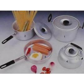 【CA四件套套鍋-93002-3~5人-鋁合金-1套/組】戶外炊具組合套鍋4件套 (大中煮鍋*1+煎盤*1+水壺*1)便攜式配送手提袋-76012