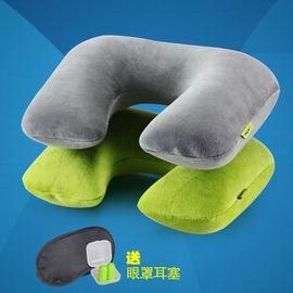 【旅遊三寶套餐-34*25*11cm-1套/組】PP內膽+棉質天鵝絨 充氣枕U型枕飛機旅遊枕(套:枕*1+袋*1+眼罩*1+耳塞*2)-76013
