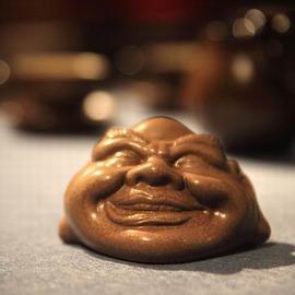 【茶寵-開心-陶土-8.5*7.0*5.5cm-1個/組】茶玩茶寵擺件汝窯精品茶寵茶具擺件茶道配件茶擺件-7501026