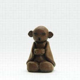 【茶寵-隨緣沙彌-中-陶土-4*4.2*6.5cm-1個/組】茶玩茶寵擺件汝窯精品茶寵茶具擺件茶道配件茶擺件-7501026