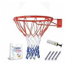 【籃球框-加強版標準款-45cm-鋼材+噴塑-1套/組】標準籃球框 兒童籃框 壁掛式籃框 (送打氣筒+3色籃網+4個膨脹螺絲)-56007