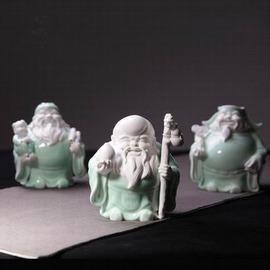 【陶瓷擺件-福祿壽-青瓷-寬約13高約15.6cm-3件/套-1套/組】陶瓷人物擺件 居家裝飾 創意工藝原創設計 整套三件裝-7501027