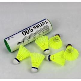 【高級尼龍羽球-M500-複合軟木球頭-6顆/筒-1筒/組】塑膠尼龍羽毛球 超耐打 6顆裝 YY品質-56007