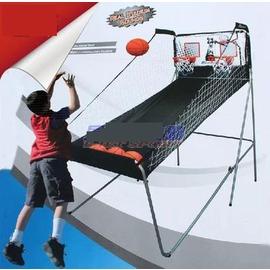 【電子記分投籃機-雙人-全鋼管-長205*寬109*高205cm-1套/組】兒童籃球架 投籃遊戲 含4個3號橡膠球(直徑18cm)-56007