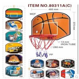 【壁掛式籃板-密度板+鐵件-板48.5*37*1.4cm-框直徑28-1套/組】兒童籃板 掛式籃板 籃球板 鐵籃框 木制籃板-56007