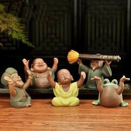 【茶寵-五喜-彩砂-長約10*高約10cm-1個/組】精品筆架茶寵小和尚彩砂茶寵茶具茶盤配件手工擺件,多款可選-7501015