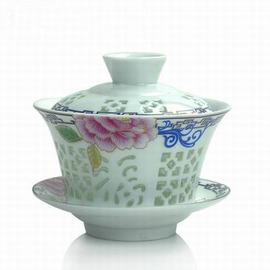 【玲瓏芳菲蓋碗-直徑9*高10cm-145ml-1套/組】茶道茶具配件茶碗陶瓷青花瓷玲瓏鏤空蓋碗三才碗大號蓋杯-7501015