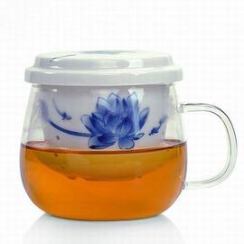 【青花玻璃茶杯-佳妍/花濃-一壺一杯/套-200ml-1套/組】青花耐熱玻璃杯陶瓷內膽過濾辦公茶杯透明水杯子茶具(包需加購)-7501015