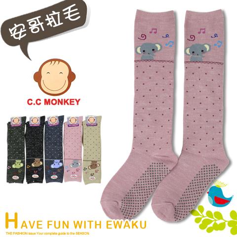 止滑半統毛襪 童襪 音符象款 台灣製 C.C.MONKEY 宜羿