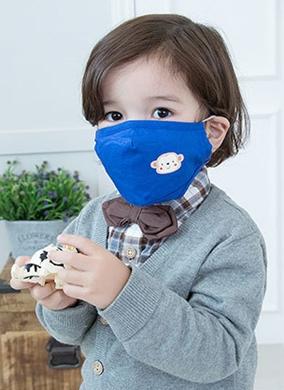 Lemonkid◆可愛純色小花猴子活性炭PM2.5防護舒棉防塵口罩-深藍色