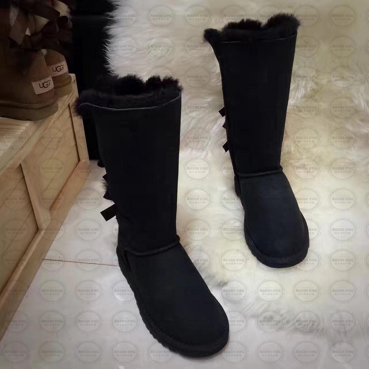 OUTLET正品代購 澳洲 UGG 一體女式絲帶蝴蝶結 保暖 真皮羊皮毛 雪靴 短靴 黑色