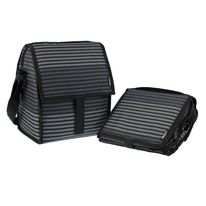 美國 【PACKiT】冰酷 豪華多功能冷藏袋(黑灰條紋)