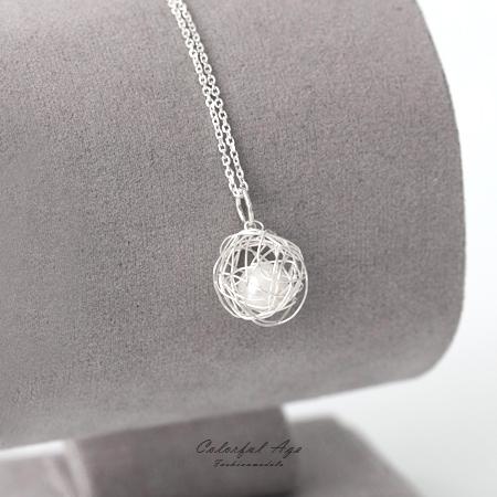 925純銀項鍊 不規則感線球珍珠設計頸鍊鎖骨鍊 抗過敏設計 甜美氣息 柒彩年代【NPB36】