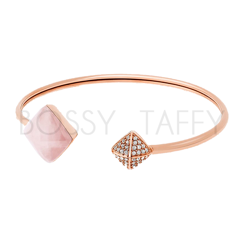MICHAEL KORS 菱形柔粉石英鑲鑽袖扣手環 MK Gold-Tone Rose Quartz Cuff