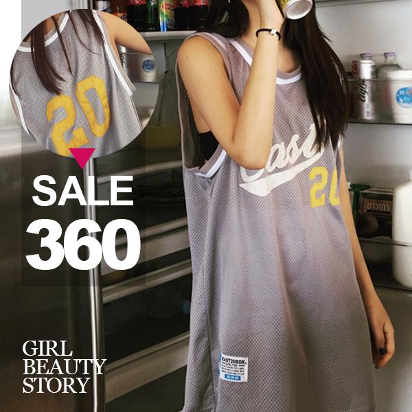 SISI【V6037】港味BF原宿運動數字印花中長款無袖背心T恤運動球衣罩衫