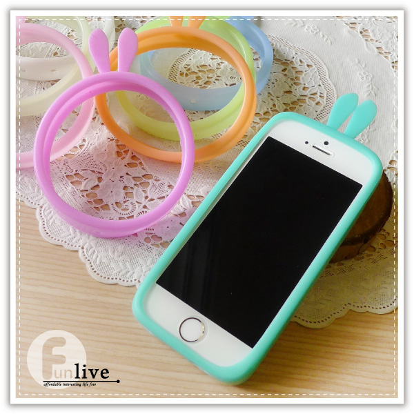 【aife life】兔耳果凍矽膠手機套/手機邊框/止滑/手機保護殼/手機套/矽膠手環/iphone5 6 plus