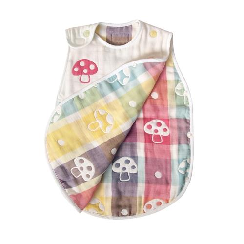 【現貨】日本製 Hoppetta 六重紗蘑菇防踢被 防踢背心★適用年齡新生兒~3歲★