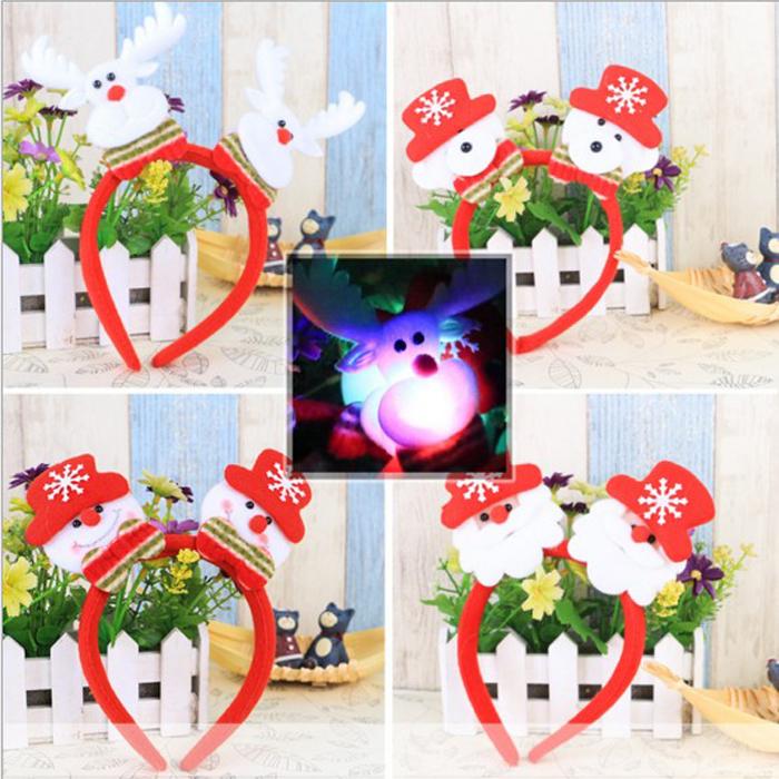 tangyizi輕鬆購【DS073】聖誕節聖誕老公公麋鹿雪人飾品派對發亮髮圈髮箍