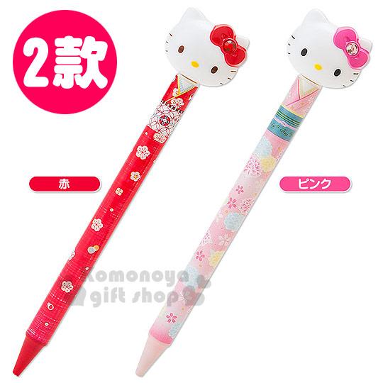 〔小禮堂〕Hello Kitty 造型原子筆《兩款選一.大臉.和服.花朵》黑色筆芯