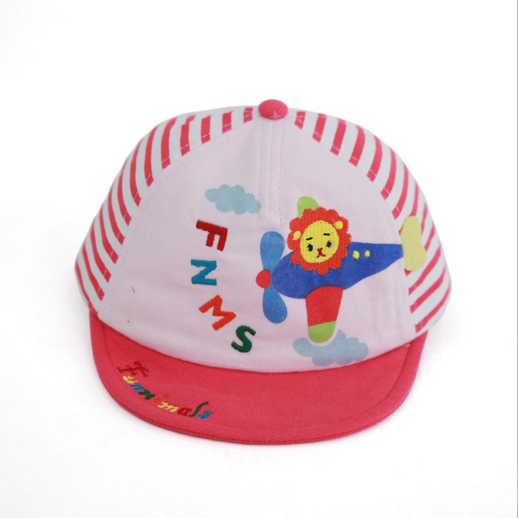 Funnimals◆條紋天空可愛獅子飛機字母兒童鴨舌帽-粉色
