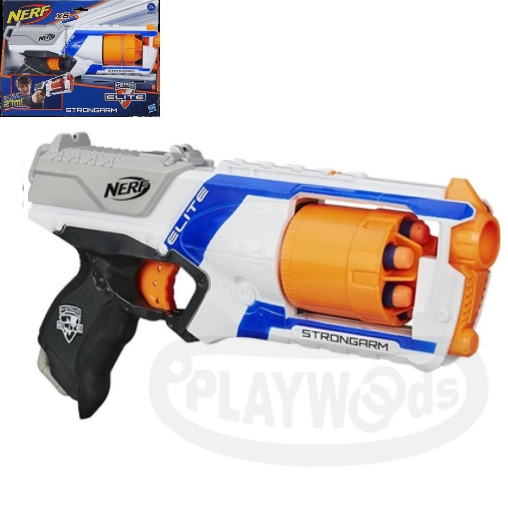 【Playwoods】[NERF樂活打擊]N-Strike系列:強襲者連發/強擊者連發衝鋒槍 STRONGARM BLASTER(孩之寶-Elite系列子彈/NERF衝鋒隊戰隊)