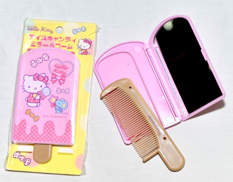 Hello Kitty 冰棒造型 梳子與鏡子 化妝鏡 凱蒂貓 日本限定