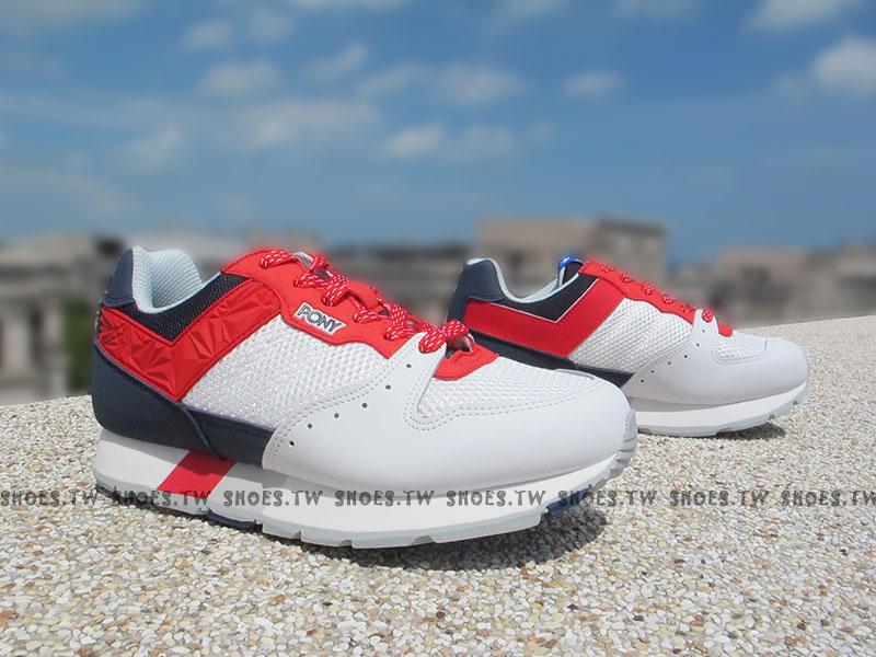 《超值7折》Shoestw【53W1SO61RW】PONY SOLA 復古慢跑鞋 內增高 白藍紅 美國 星星 男女情侶鞋