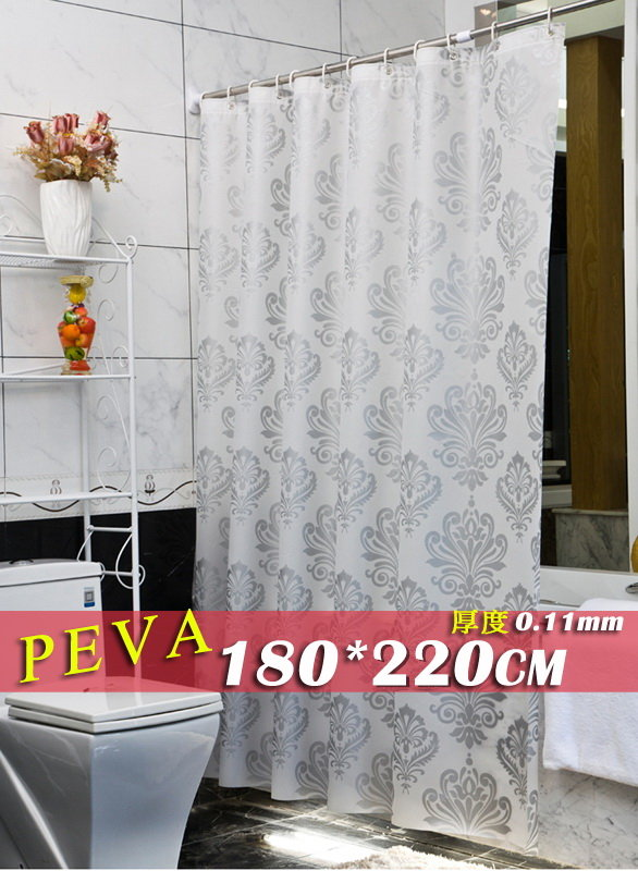 《喨晶晶生活工坊》正品 歐式低調奢華銀色圖騰 PEVA 180*220金屬扣眼防水浴簾 隔間簾門簾 送掛勾