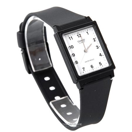 CASIO卡西歐 方形白面數字刻度設計透氣膠錶 輕巧中性款手錶 柒彩年代【NE1856】原廠公司貨