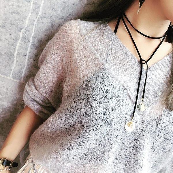 PS Mall 韓版時尚新款簡約風百搭多層金屬圓牌珍珠裝飾頸鏈系帶項鍊 【G2305】