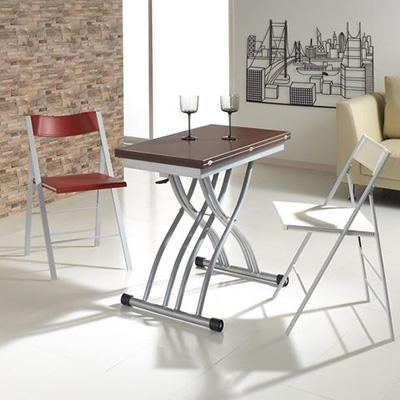 餐桌/客廳桌/升降桌/折疊旋轉/ 歐風質感多功能旋轉摺疊升降桌(DIY組裝)【天空樹】(LA1-BR)
