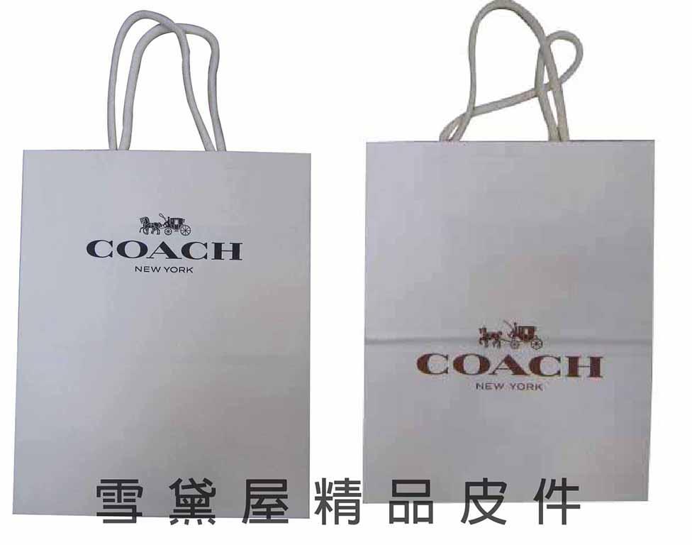 ~雪黛屋~COACH 提袋國際正版長型皮夾小型包小手拿包紙提袋進口紙材質可摺疊收納展開為提袋-紙提袋#8140