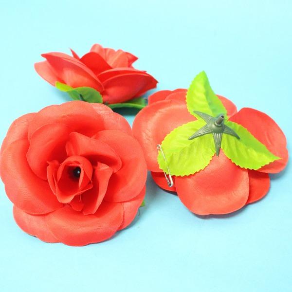 玫瑰胸花 中尼龍布玫瑰花胸花 玫瑰禮花(附別針)/一朵入{定6}~3785~