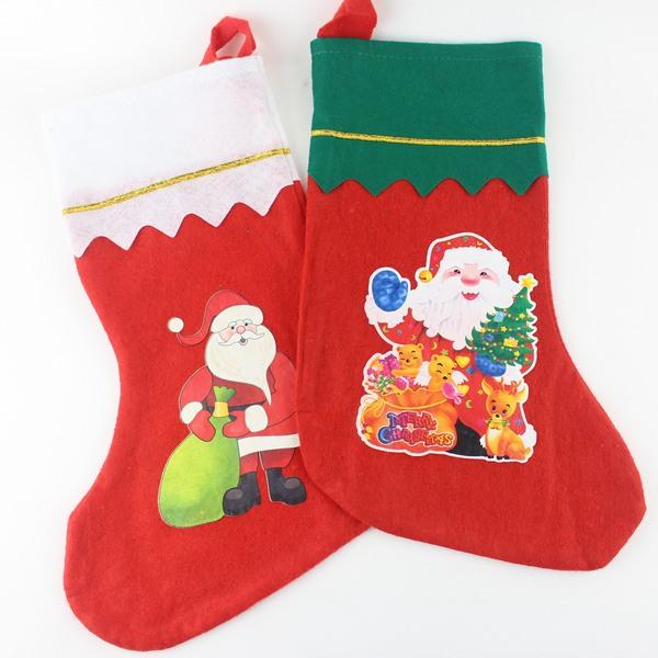 聖誕襪 大彩圖聖誕襪 耶誕襪 綠邊.白邊(中大型)/一個入{促40}~5600A
