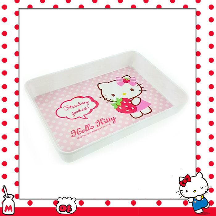 大田倉 日本進口正版 HELLO KITTY凱蒂貓抱草莓 美耐皿 多功能方型盤 餐盤 飾品盤  023207