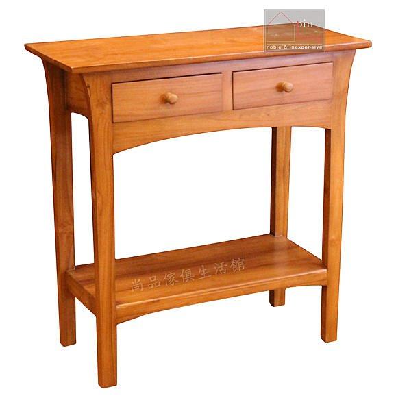【尚品傢俱】640-09百分百柚木二抽長桌~玄關桌書桌沙發背桌