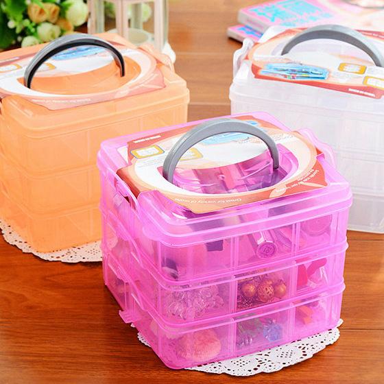 三層可拆格塑膠收納盒/透明收納盒/塑膠首飾盒99元【省錢博士】