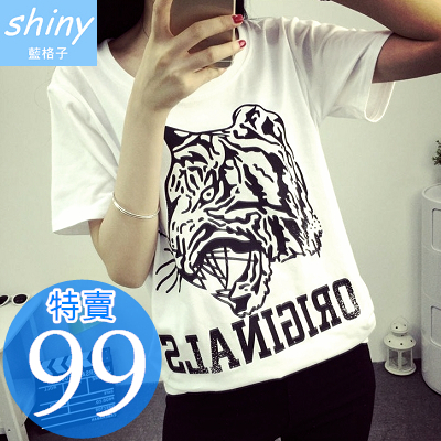 【D727】shiny藍格子-個性休閒.豹頭圖案字母圓領寬鬆短袖T恤