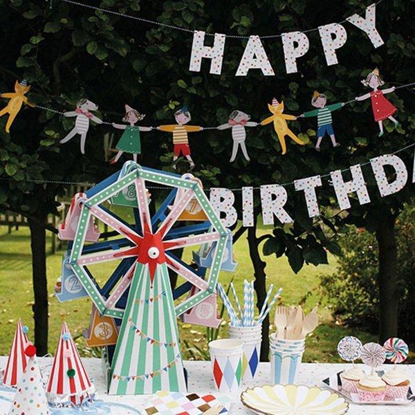 =優生活=韓國可愛卡通人偶動物紙質彩旗婚慶派對櫥窗裝飾掛飾 DIY彩旗生日三角旗 派對野餐佈置 兒童節嬰兒房 拍攝道具
