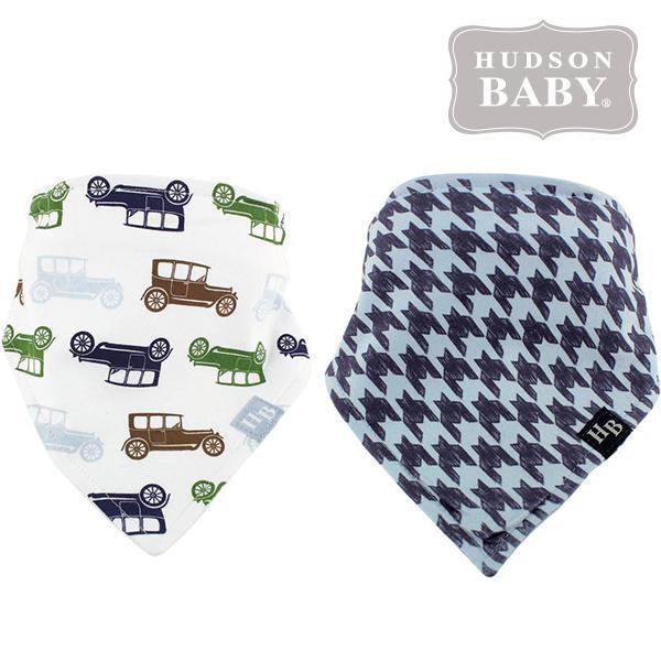 美國 Hudson Baby / Luvable Friends 嬰幼用品 領巾造型圍兜 口水巾 (兩件組) - 彩色車車