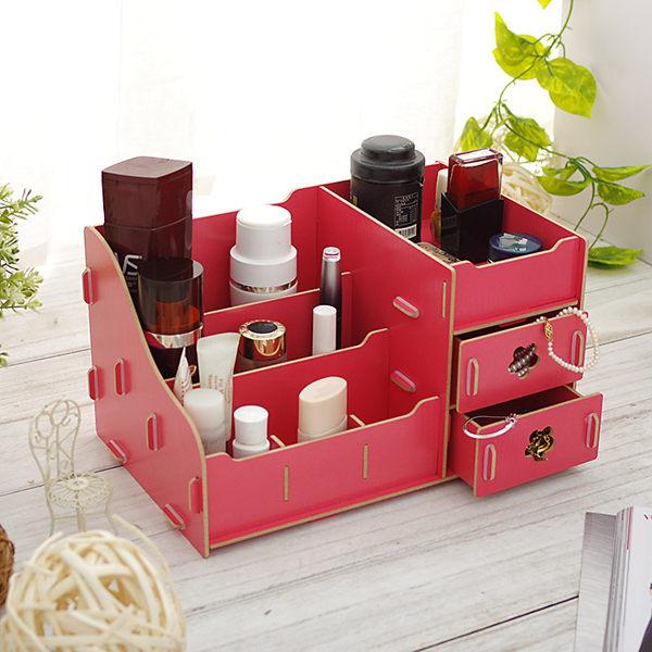 化妝品收納盒 DIY木質 桌上收納盒【SV5454】快樂生活網