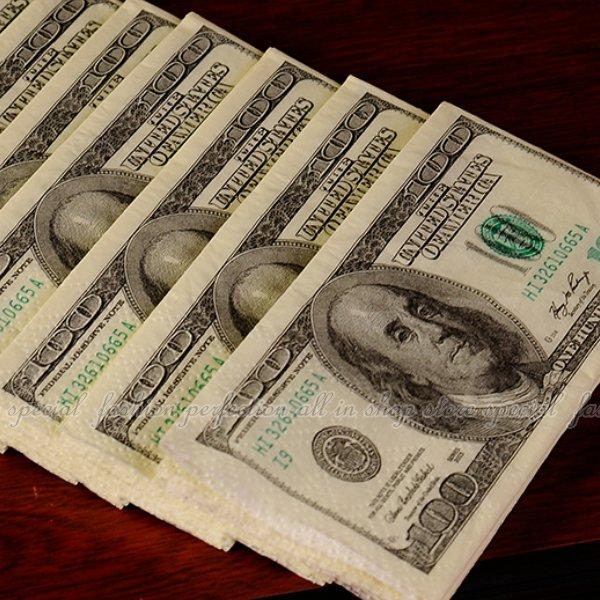 美金餐巾紙10入 面紙-大 美金鈔票紙巾 美元紙巾【DH115】◎123便利屋◎