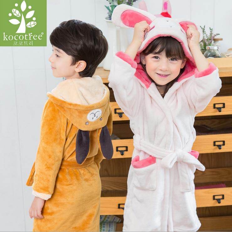 WallFree窩自在★可愛萌趣動物兔子小熊舒適法蘭絨兒童睡袍