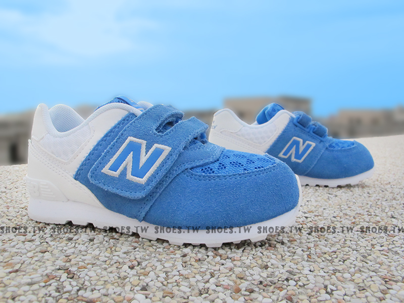 Shoestw【KV574QBY】NEW BALANCE 574 復古慢跑鞋 童鞋 中童 藍麂皮 白 雙色
