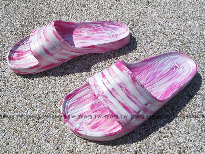 Shoestw【S77983 】ADIDAS DURAMO SLIDE 拖鞋 一體成型 粉紅迷彩 草莓 女款 窄版