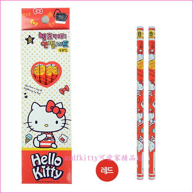 asdfkitty可愛家☆ KITTY紅色六角鉛筆組-4入-韓國製