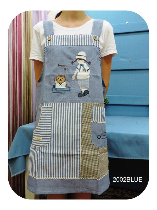◤彩虹森林◥《2002BLUE》可愛廚師與喵咪 日式拼布圍裙 日式圍裙 主婦家居 幼稚園工作圍裙 工作裙