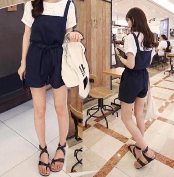 PS Mall 韓版學院風寬鬆綁帶吊帶褲 連身褲【T314】
